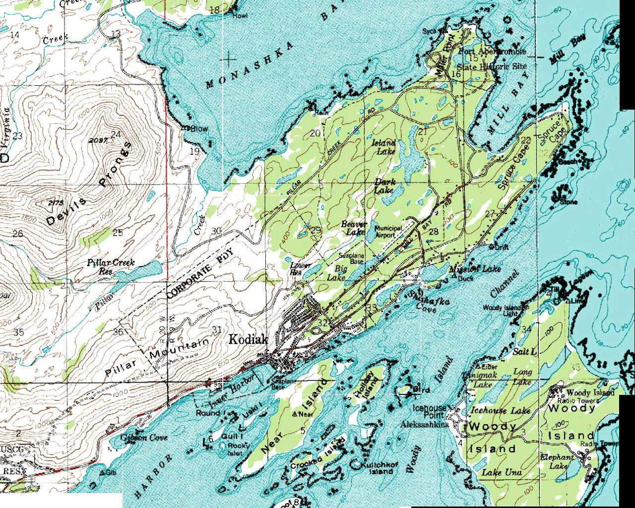 Kodiak Island Alaska Map.Kodiak Alaska Military History Maps