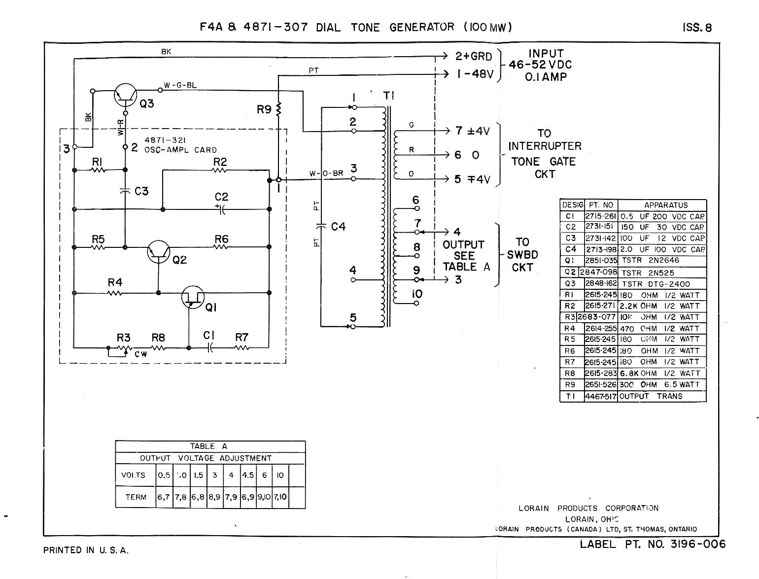 Telephone Technical References Circuit Further Sound Generator Likewise The Instructions Description And Schematic Lorain Model F4a 4871 307 Tone