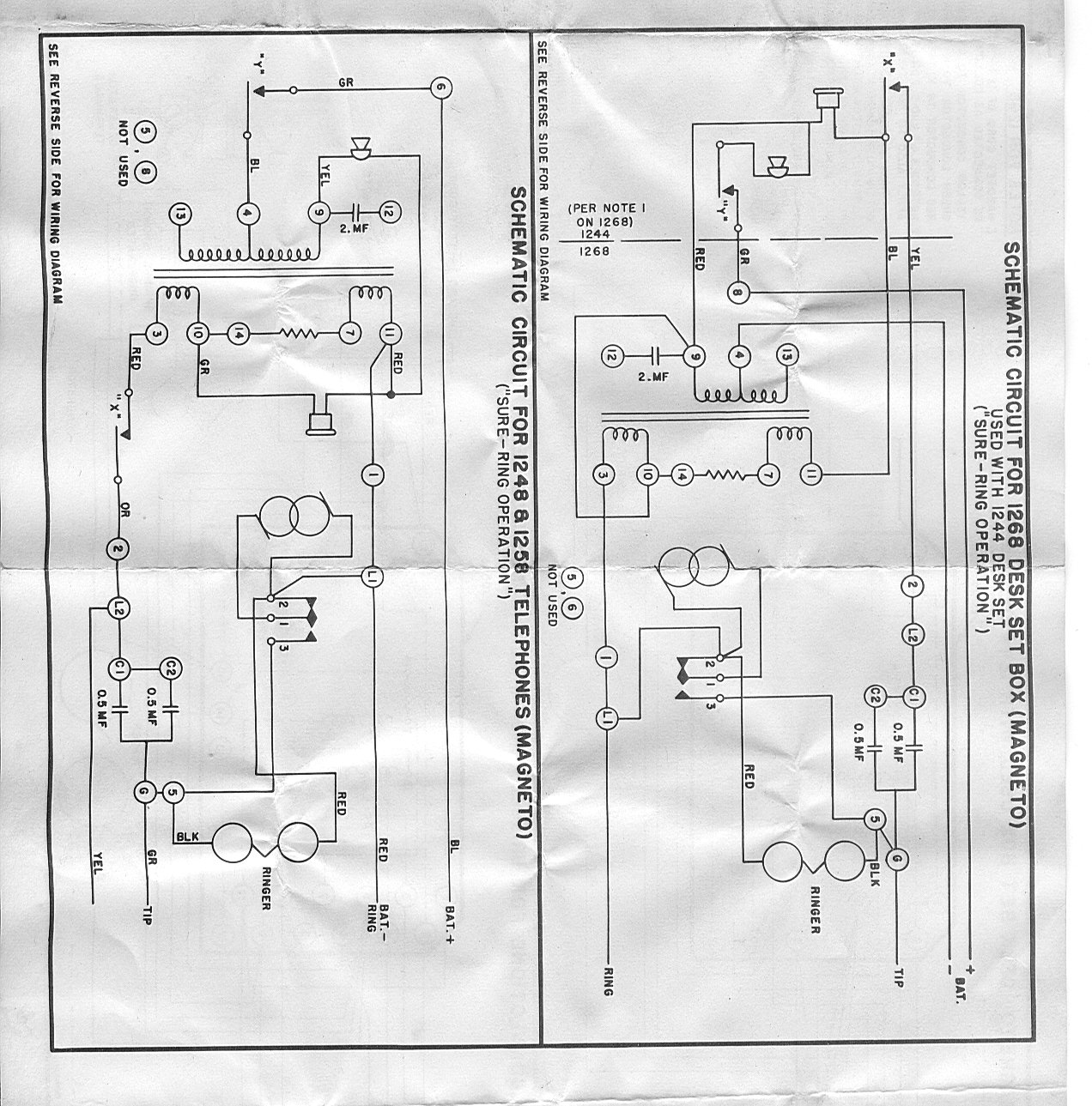 Telephone Technical References Phone Line Wiring Diagram Magneto Desk Set Stromberg Carlson 1268 Box Used With 1244